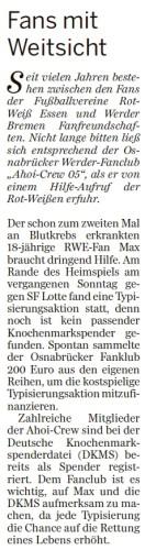 Neue Osnabrücker Zeitung berichtet über Spende