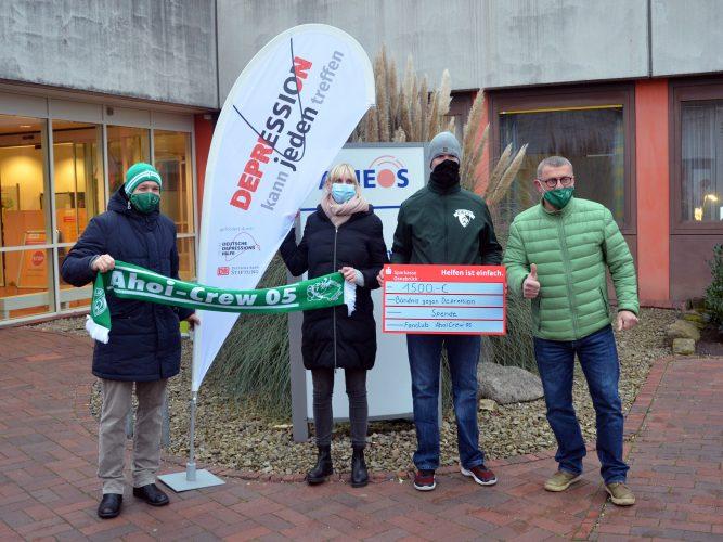 Spende gerade in Corona-Zeiten willkommen: Osnabrücker Werder-Fanclub unterstützt Bündnis gegen Depression
